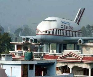 airplane on building